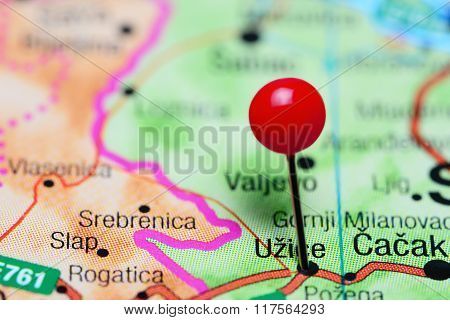 Uzice pinned on a map of Serbia