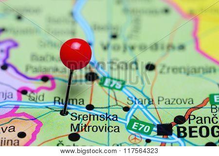 Sremska Mitrovica pinned on a map of Serbia