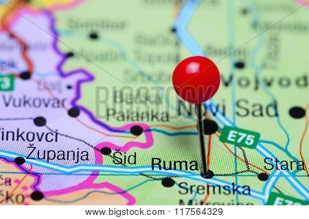 Ruma pinned on a map of Serbia