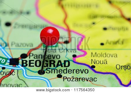 Smederevo pinned on a map of Serbia