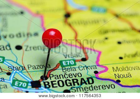 Pancevo pinned on a map of Serbia