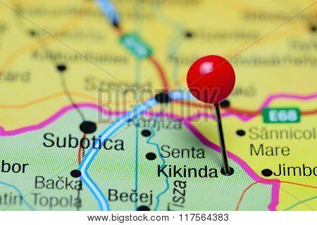 Kikinda pinned on a map of Serbia