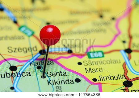 Senta pinned on a map of Serbia