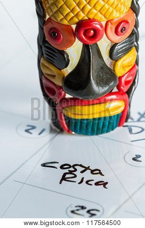 Vacation In Costa Rica Marked On A Calendar
