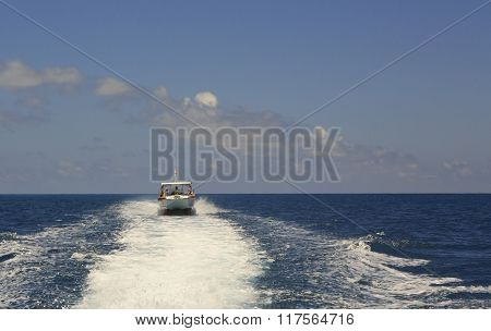 Tourist boat in the Indian Ocean. Seychelles.
