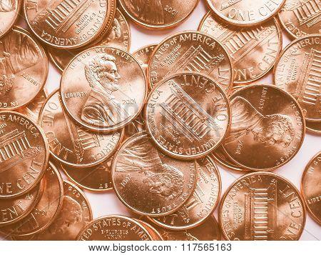 Dollar Coins Background Vintage
