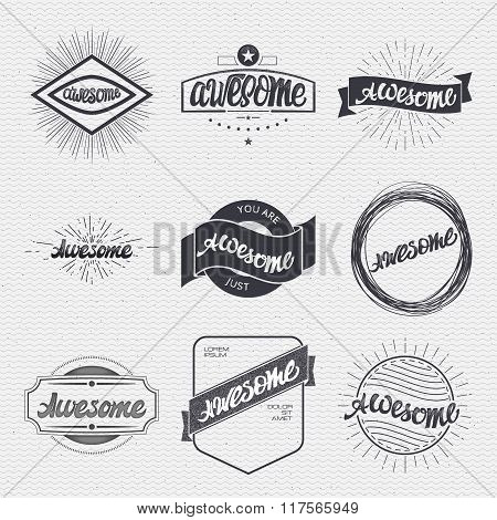 Awesome. Handwritten inscription. Hand drawn calligraphy lettering  typography badge. It can be used