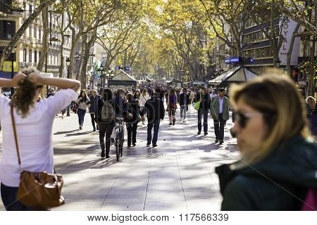 People Walking On La Rambla Street