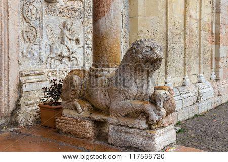 Column-bearing Lion In San Zeno