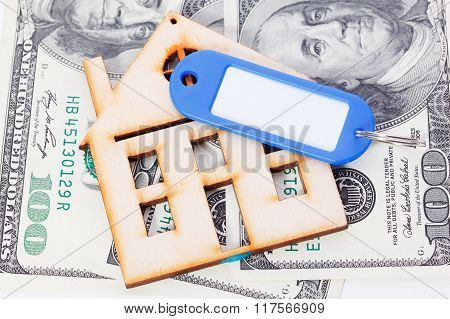 Model Of Wooden House With Dollar Bills. House Building, Loan, Real Estate, Cost Of Housing Or Buyin
