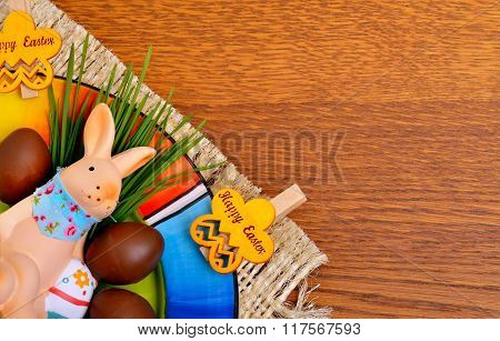 Easter Bunny With Chocolate Eggs.