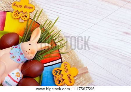 Easter Decoration  Bunny With Chocolate Eggs.
