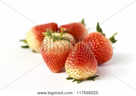 Red ripe strawberries red color isolated on white background