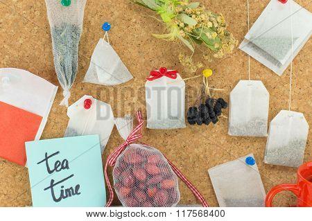 Bunch Of Tea Bags Hanging