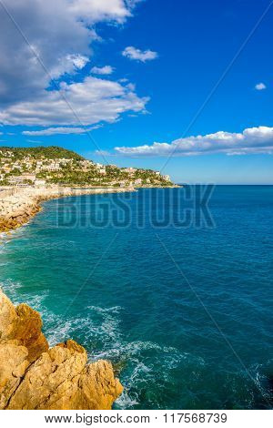 View of luxury resort Nice on French Riviera at Mediterranean Sea. Cote d'Azur. France.