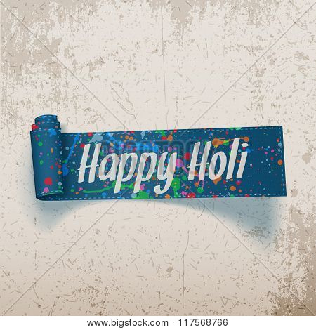 Happy Holi scroll blue Ribbon with color Splashes