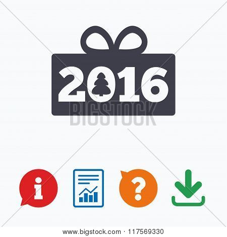 Happy new year 2016 sign icon. Christmas gift.