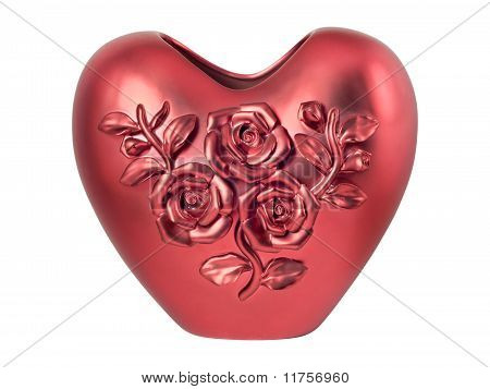 Red Heart-shaped Vase Decorated With Three Roses
