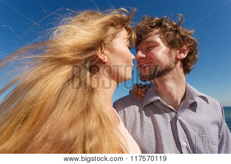 Dating. Couple In Love Kissing