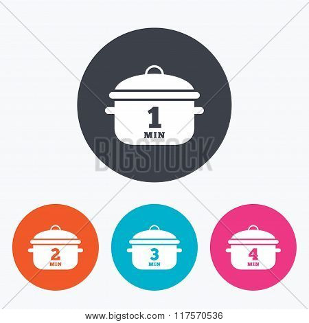 Cooking pan icons. Boil one, four minutes.