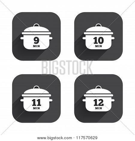 Cooking pan icons. Boil nine, twelve minutes.