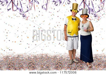 Brazilian couple at Carnival party background