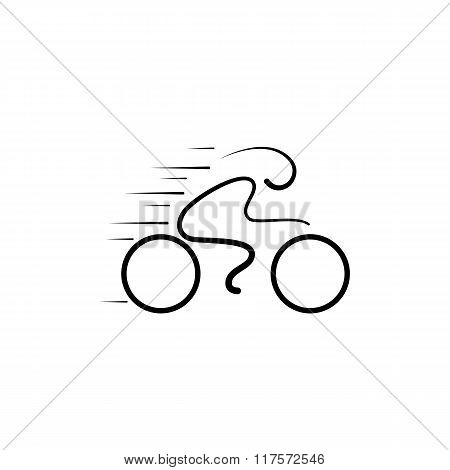 Bicycle Logo Design Vector Template Linear Style.bicycle Rider Silhouette Icon Logo Sign.