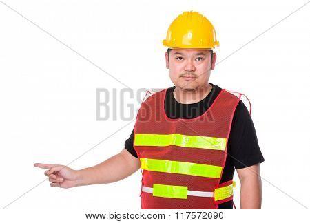 Asian engineer finger point aside