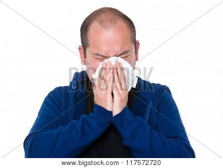 Asian man feeling unwell