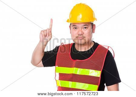 Asian engineer finger point up