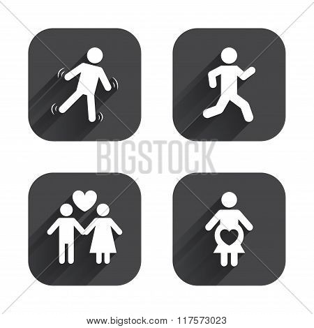 Women pregnancy icon. Human running symbol.