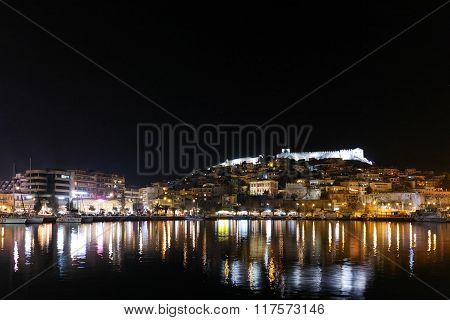 Night photo of old town of Kalava, Greece