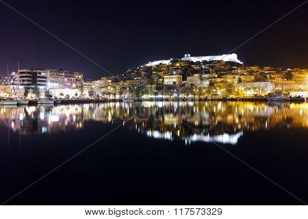 Amazing Night photo of old town of Kavala, Greece