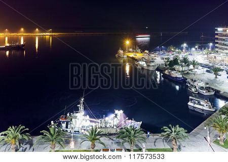 Amazing night Cityscape of port and old town of Kavala, Greece