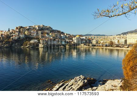 Morning view of aqueduct and old Old town of Kavala, Greece