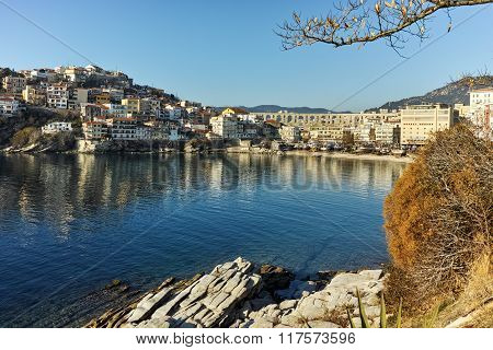 Amazing view of aqueduct and old Old town of Kavala, Greece