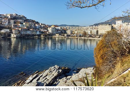 Cityscape with aqueduct and old Old town of Kavala, Greece