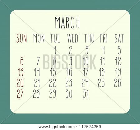 March 2016 Monthly Calendar