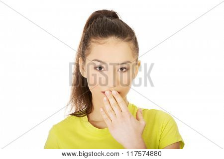 Young shocked woman.