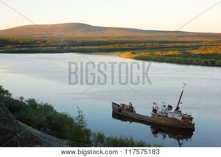 Abandoned Sinked Ship At Kolyma River