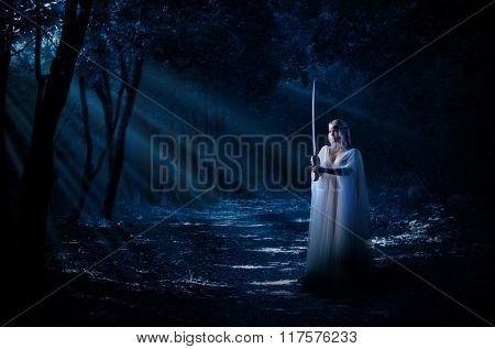 Young elven girl with sword  isolated in night forest