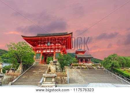 Ro Mon Red Gate Sunset Kiyomizudera Temple Entry
