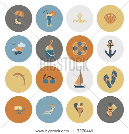 Summer and Beach Simple Flat Icons