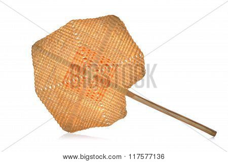 Wicker Bamboo hand fan or Blow On White Background