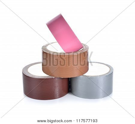 Roll Of Adhesive Tape On White Background