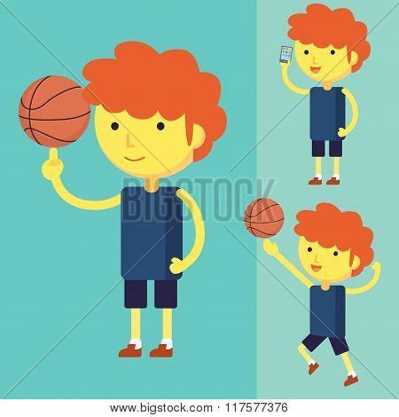 Young Man Playing Basketball