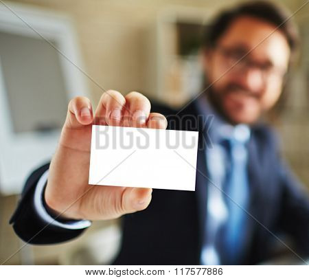 Businessman with visiting card