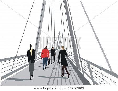 London pedestrian bridge illustration