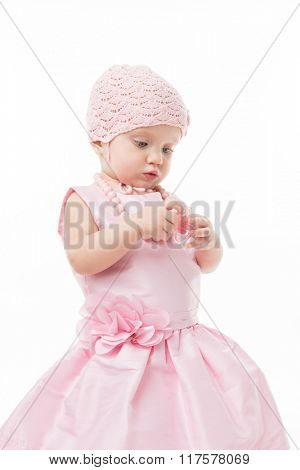 little child baby girl isolated on white studio shot pink dress baby's dummy