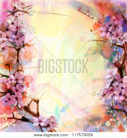 Watercolor Painting Cherry Blossoms - Japanese Cherry - Pink Sakura Floral background